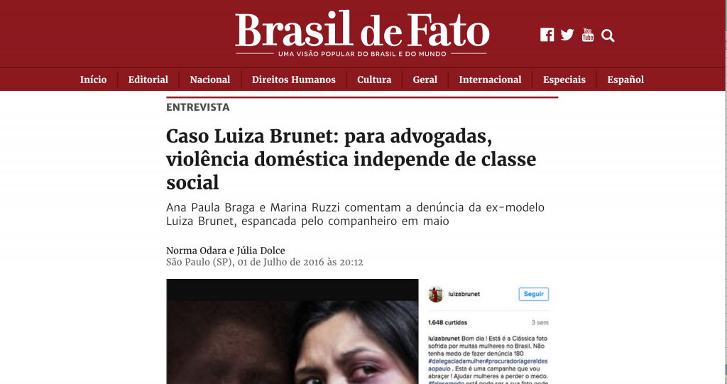 Brasil de Fato - violência doméstica e o caso Luiza Brunet