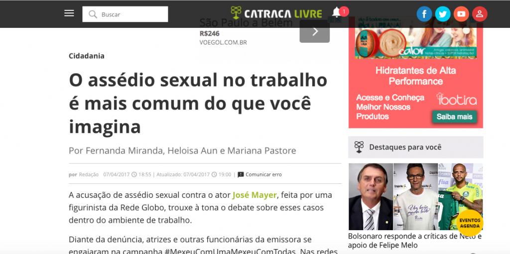 Catraca Livre - entrevista sobre assédio sexual no trabalho