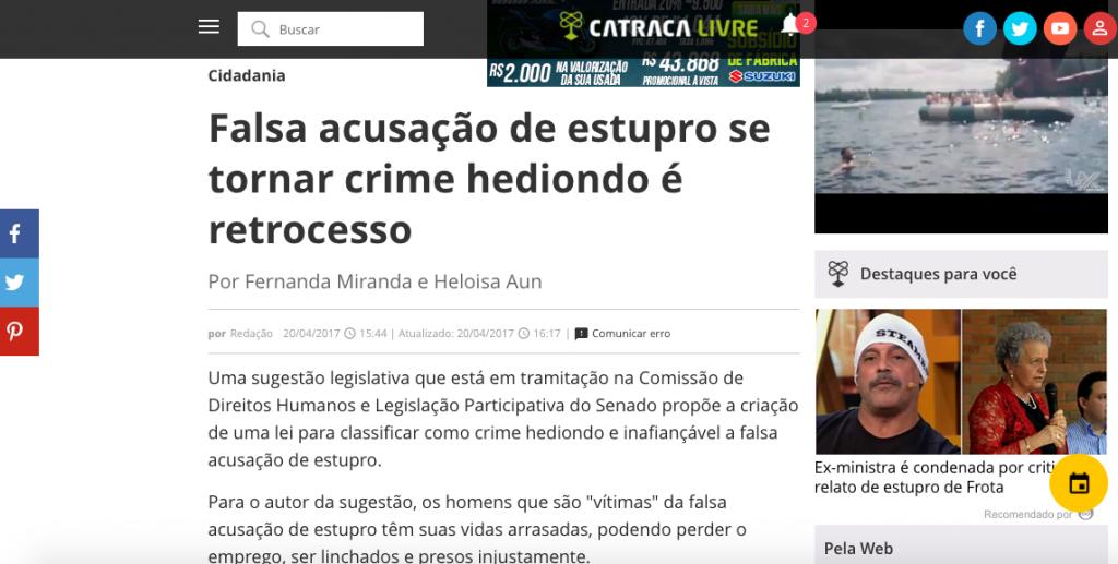 Catraca Livre – comentários ao projeto de lei que pretende tornar crime hediondo a falsa acusação de estupro