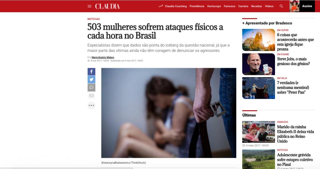 Revista Claudia -  entrevista sobre violência contra a mulher