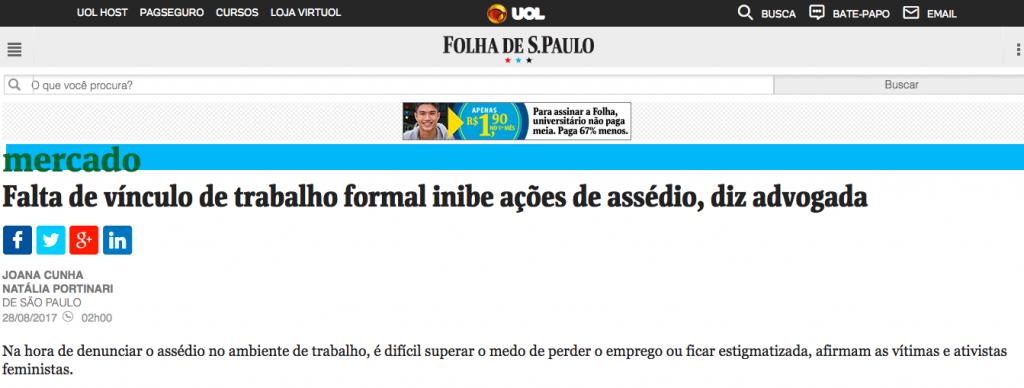 Entrevista Folha – assedio sexual no trabalho
