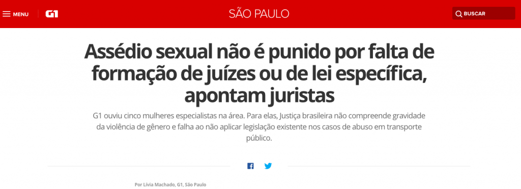 Entrevista G1 – impunidade do assédio sexual