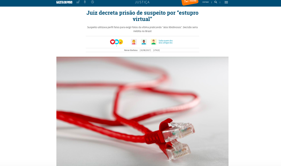 Entrevista Gazeta do Povo – estupro virtual