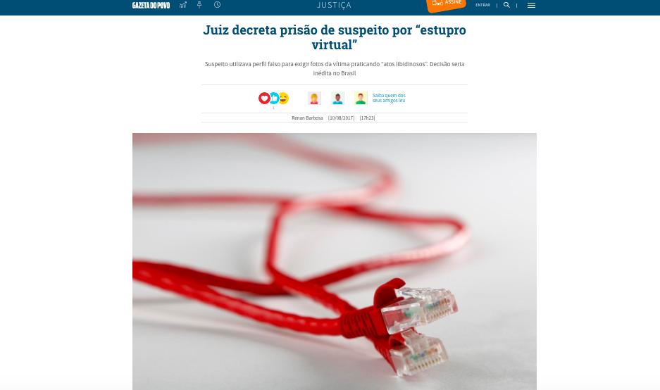 Entrevista Gazeta do Povo – estupro virtual