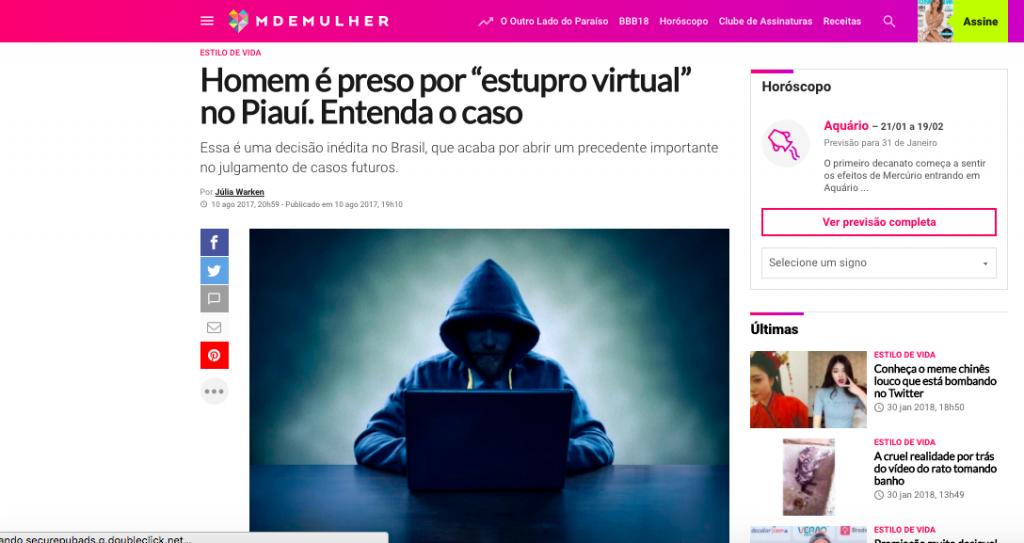 Entrevista M de Mulher – estupro virtual