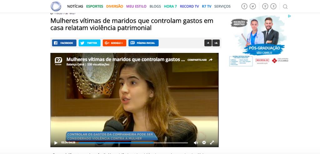Rede Record - Entrevista para o programa Balanço Geral sobre violência patrimonial