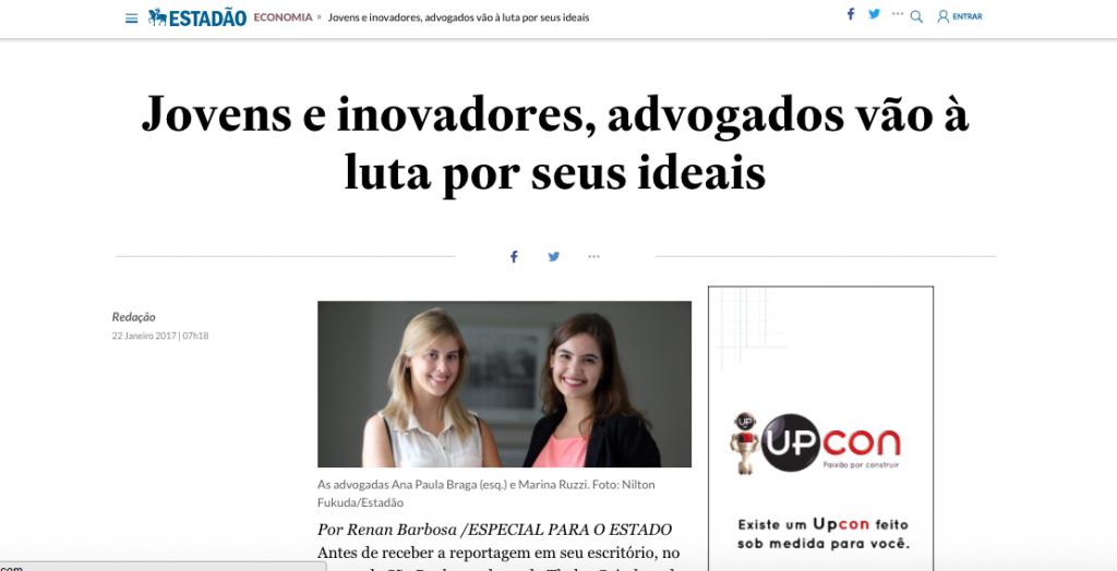 Estadão - reportagem sobre advogados inovadores