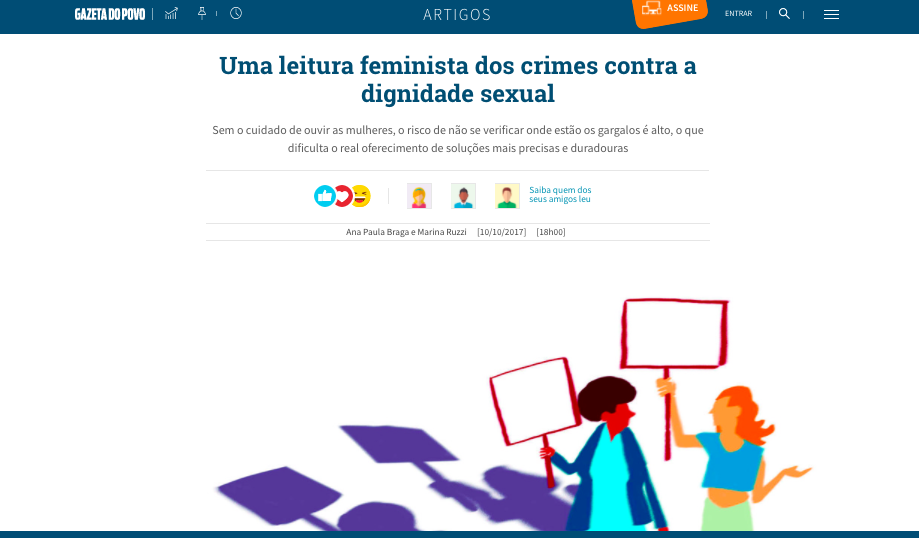 Gazeta do Povo – texto sobre crimes sexuais