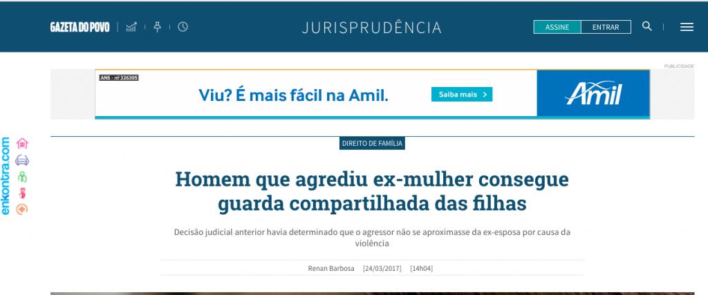 Gazeta do povo – comentários à decisão que concedeu guarda compartilhada dos filhos em caso de violência doméstica