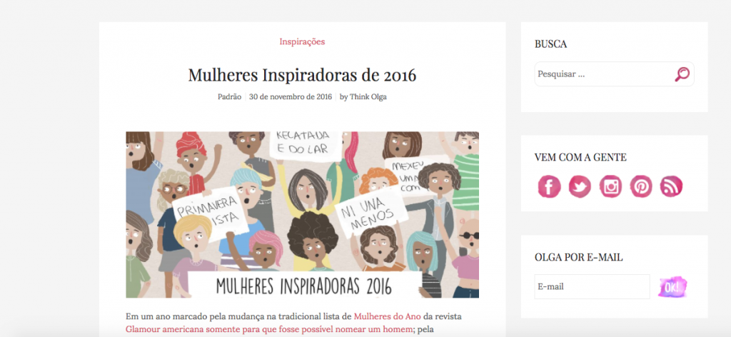 Think Olga - advogadas na lista de Mulheres Inspiradoras 2016