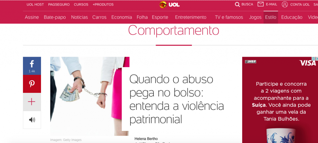 Uol - entrevista sobre violência patrimonial
