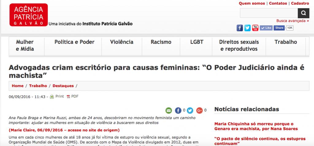 Agência Patrícia Galvão - matéria sobre o escriório