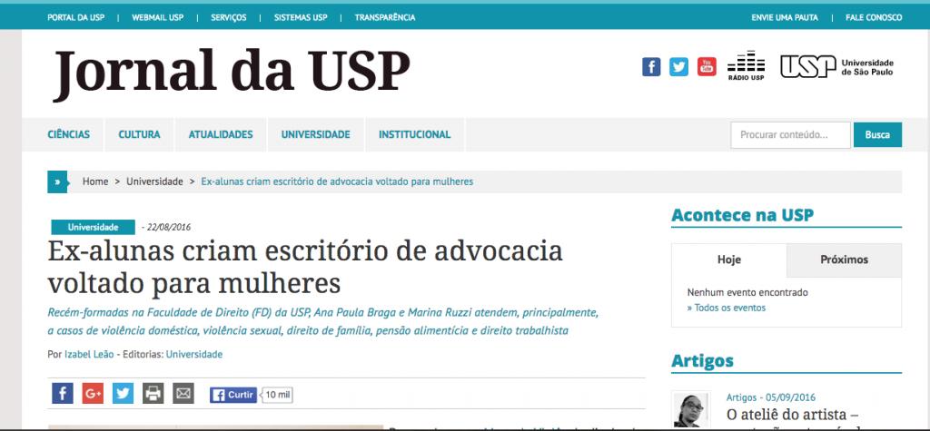 Jornal da USP - matéria sobre o escritório