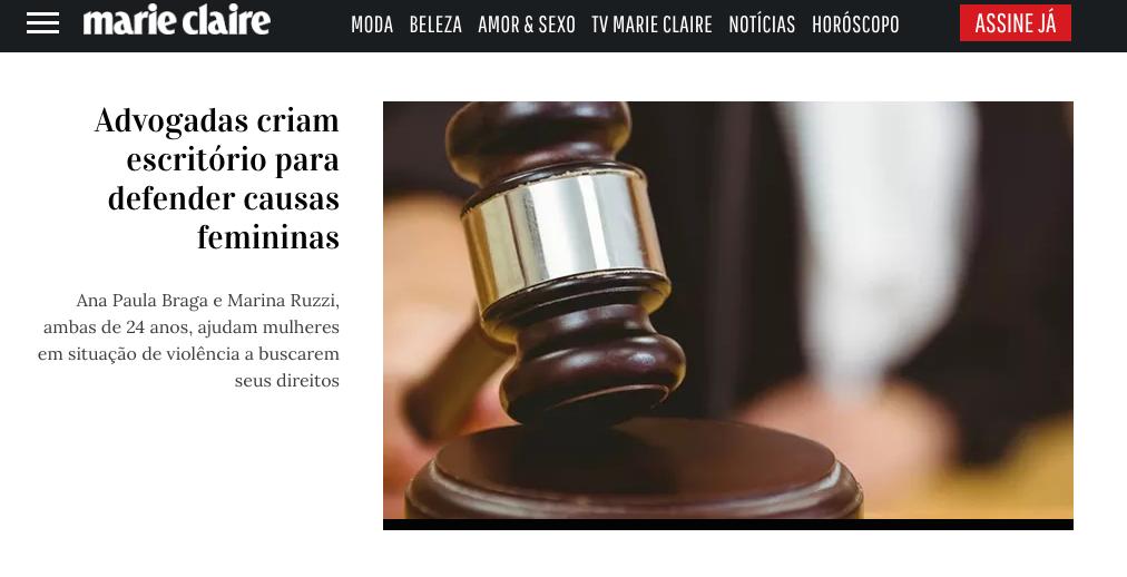 Revista Marie Claire - matéria sobre o escritório e o machismo no Judiciário