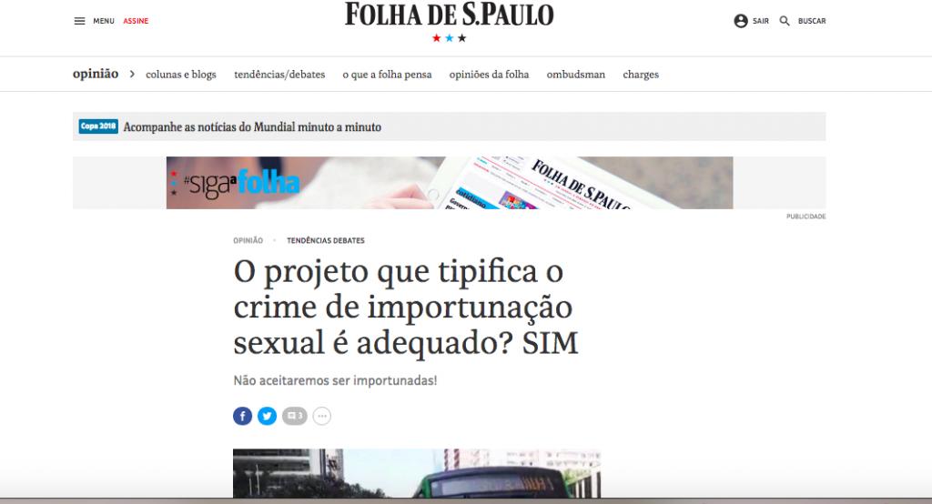 Folha – crime importunacao