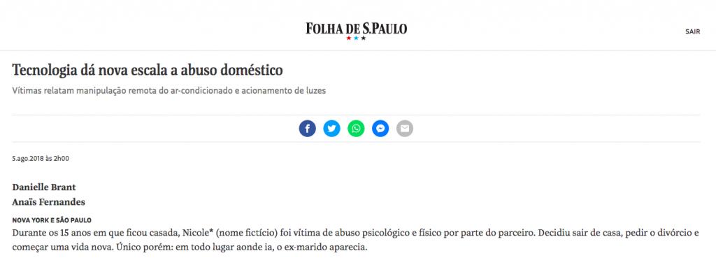 Folha SP – tecnologia e abuso domestico